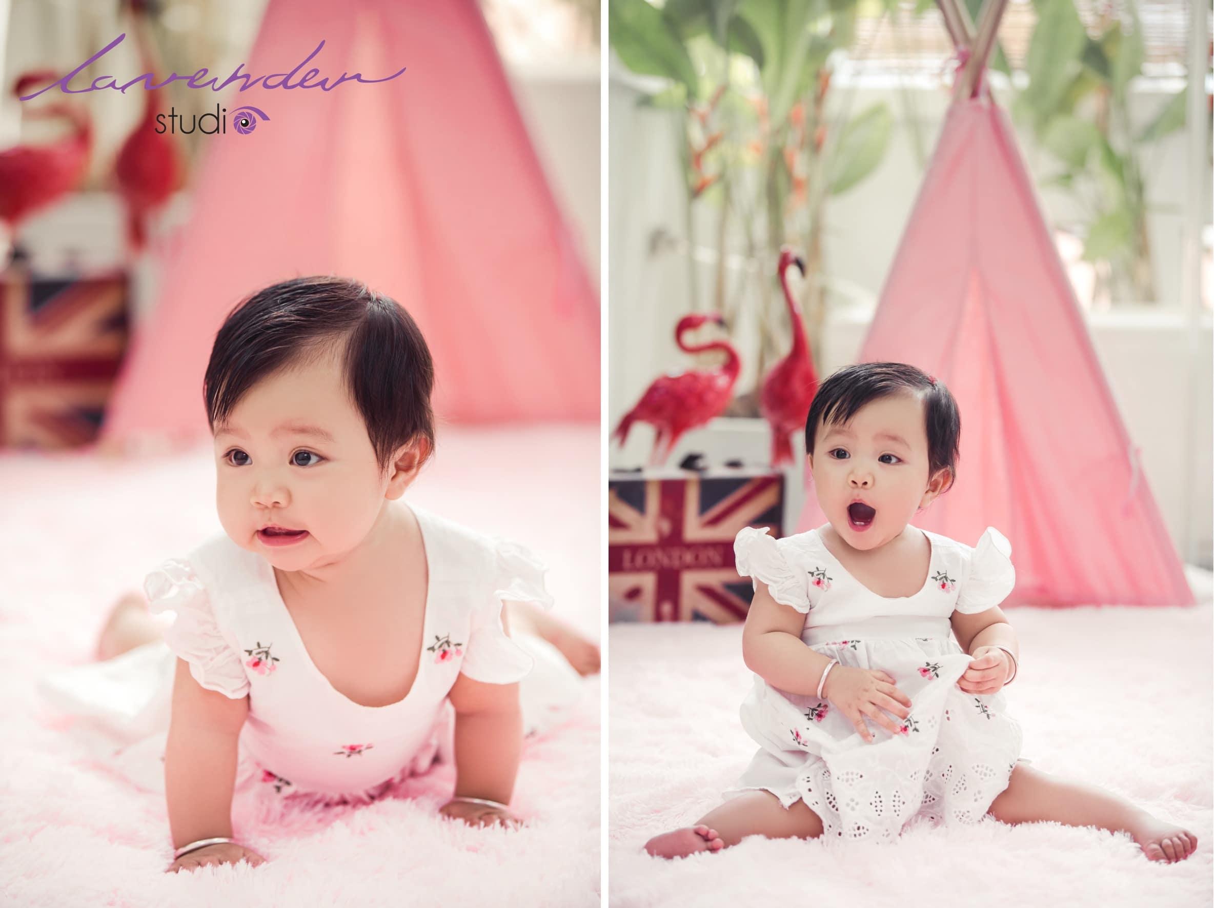 Chụp hình cho bé gái 1 tuổi tại Lavender Studio