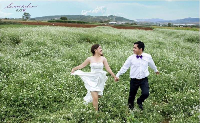 chụp hình cưới vườn hoa cải trấng đà lạt