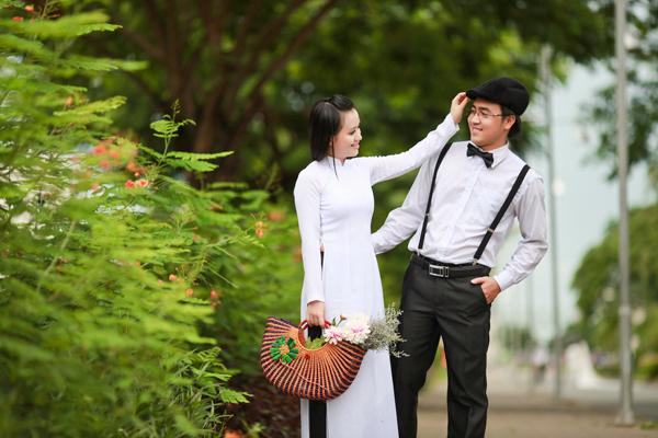 trang phục ảnh cưới áo dài trắng